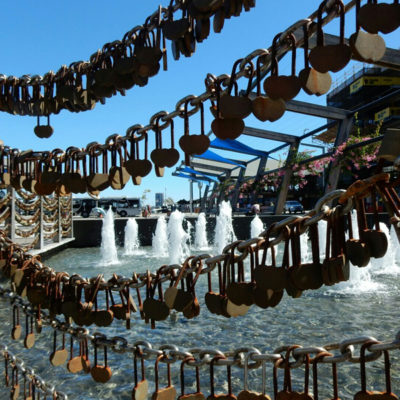 heart shaped padlocks at Bell Tower. Perth, Australia