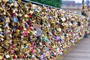 thousands of love lock padlocks in paris