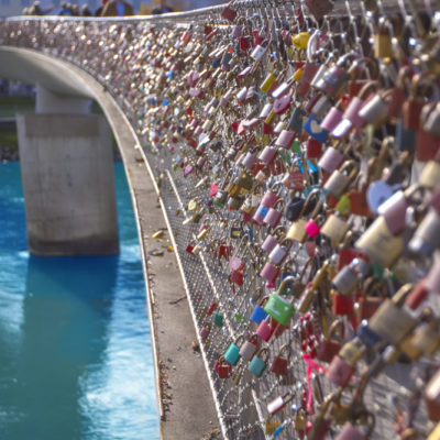 Love locks hanging from Makartsteg footbridge, Salzburg, Austria